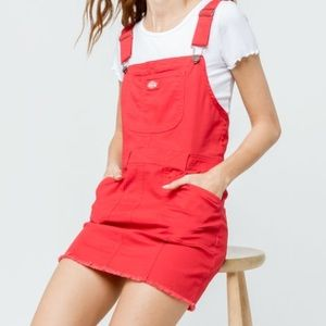 red dickies overall dress